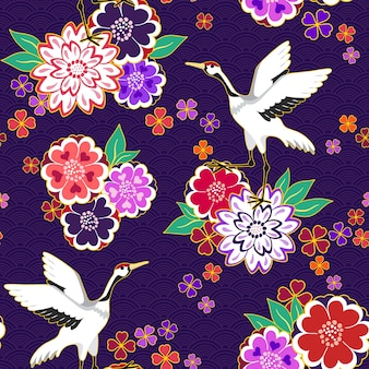 Floral pattern with gooses