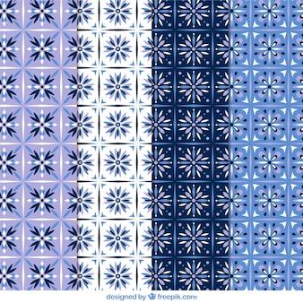 Floral patterns in blue tones