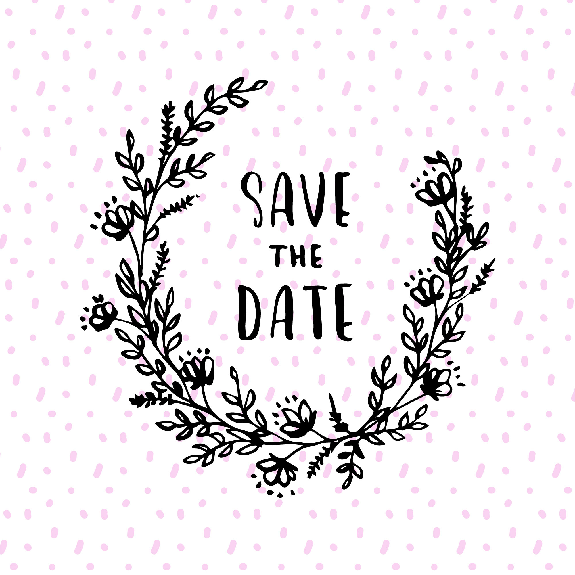 Floral save the date wreath design