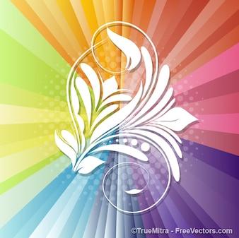 Floral shape on colored sunburst