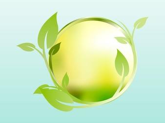 Floral sphere leaves vector design