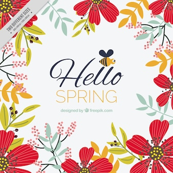 Floral spring background with decorative red flowers