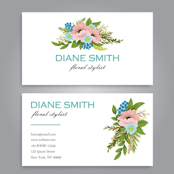 Floral style business card template