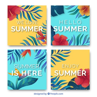 Floral summer cards in water color