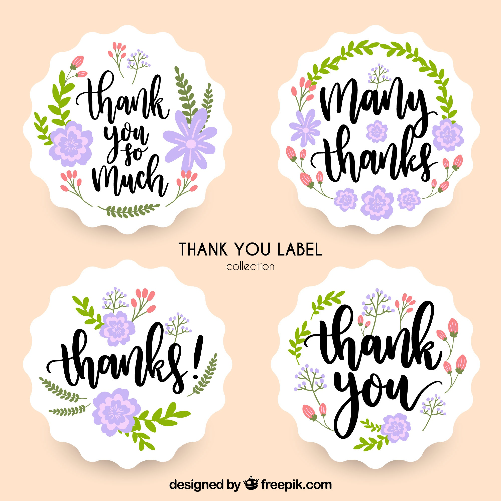 Floral thank you label collection