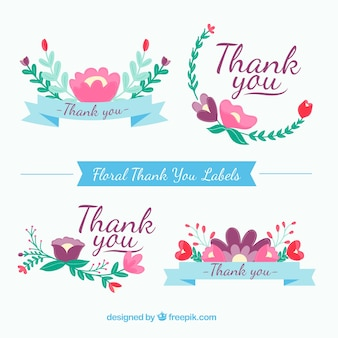 Floral thank you stickers set