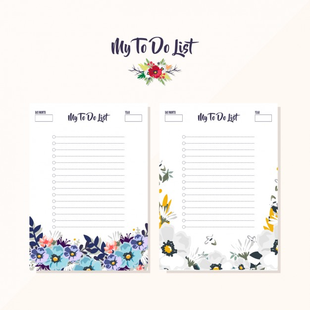 Floral to do list designs