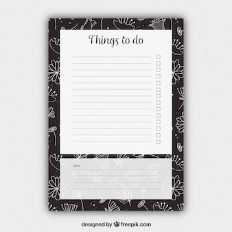 Floral to do list template
