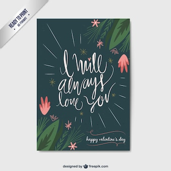 Floral Valenine Day Flat Card