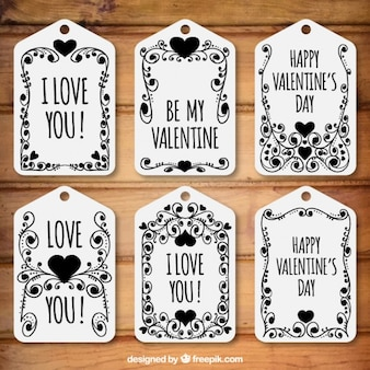 Floral valentine day tags pack in black color