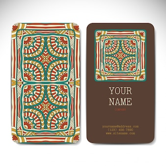 Floral vintage business card with mandala concept