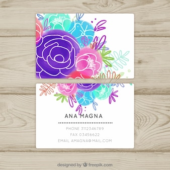 Floral water color business card