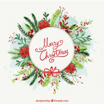 Floral watercolor background for christmas decoration