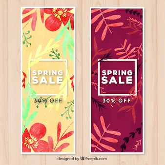 Floral watercolor banners for sale