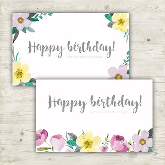 Floral watercolor birthday cards