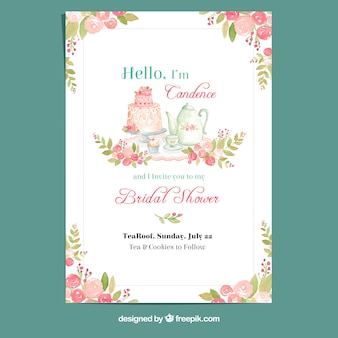 Floral watercolor card for bachelorette party