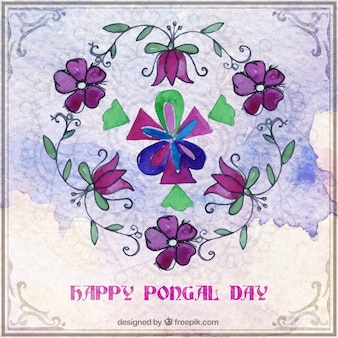 Floral watercolor happy pongal day background