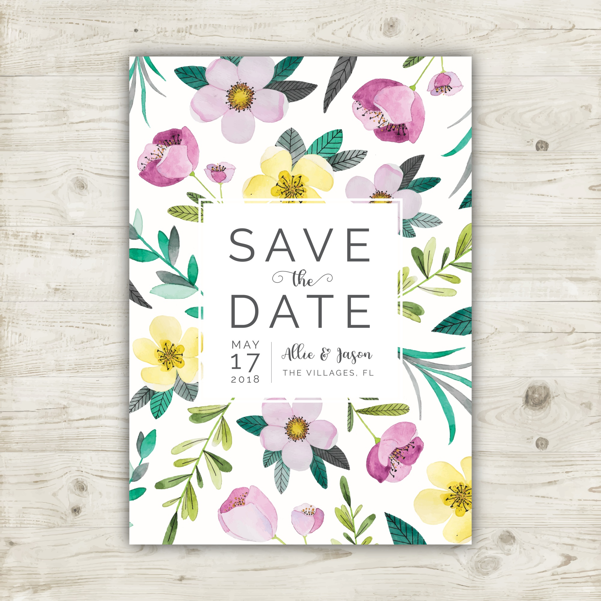 Floral watercolor save the date card