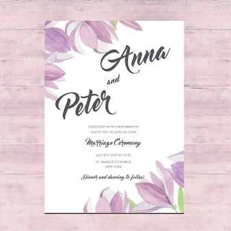 花の結婚式のカードのデザイン