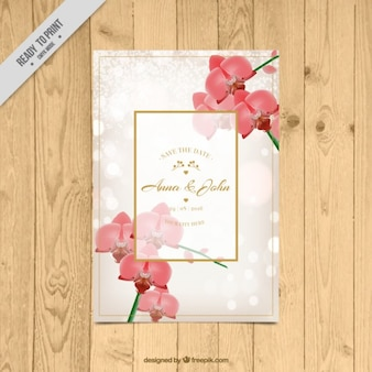 Floral wedding card with orchids