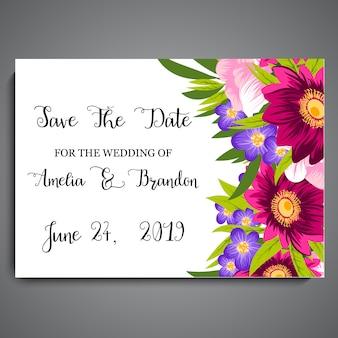 花のウェディングカード