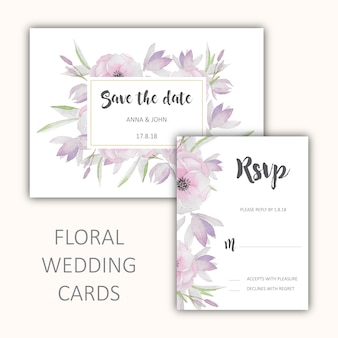 Floral wedding cards set
