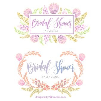 Floral wedding frames in watercolor style