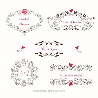 Floral wedding frames with color details