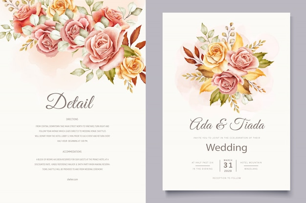 Floral wedding invitation card set