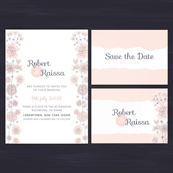 Floral wedding invitation set