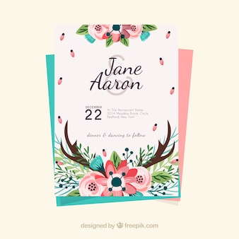 Floral wedding invitation template in hand-drawn style
