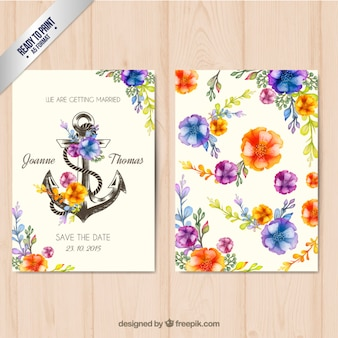 Floral wedding invitation with an anchor