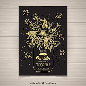 Floral wedding invitation with golden style