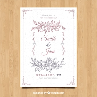 Floral wedding invitation with hand drawn style