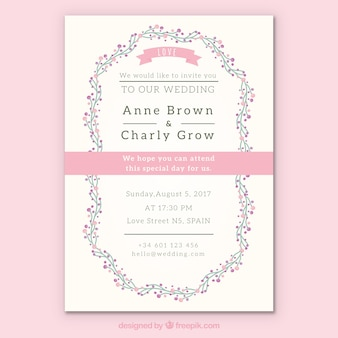 Floral wedding invitation with pink details