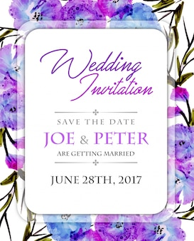 Floral wedding invitation with purple watercolor