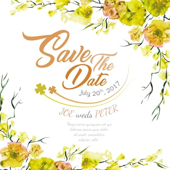 Floral wedding invitation with yellow watercolor