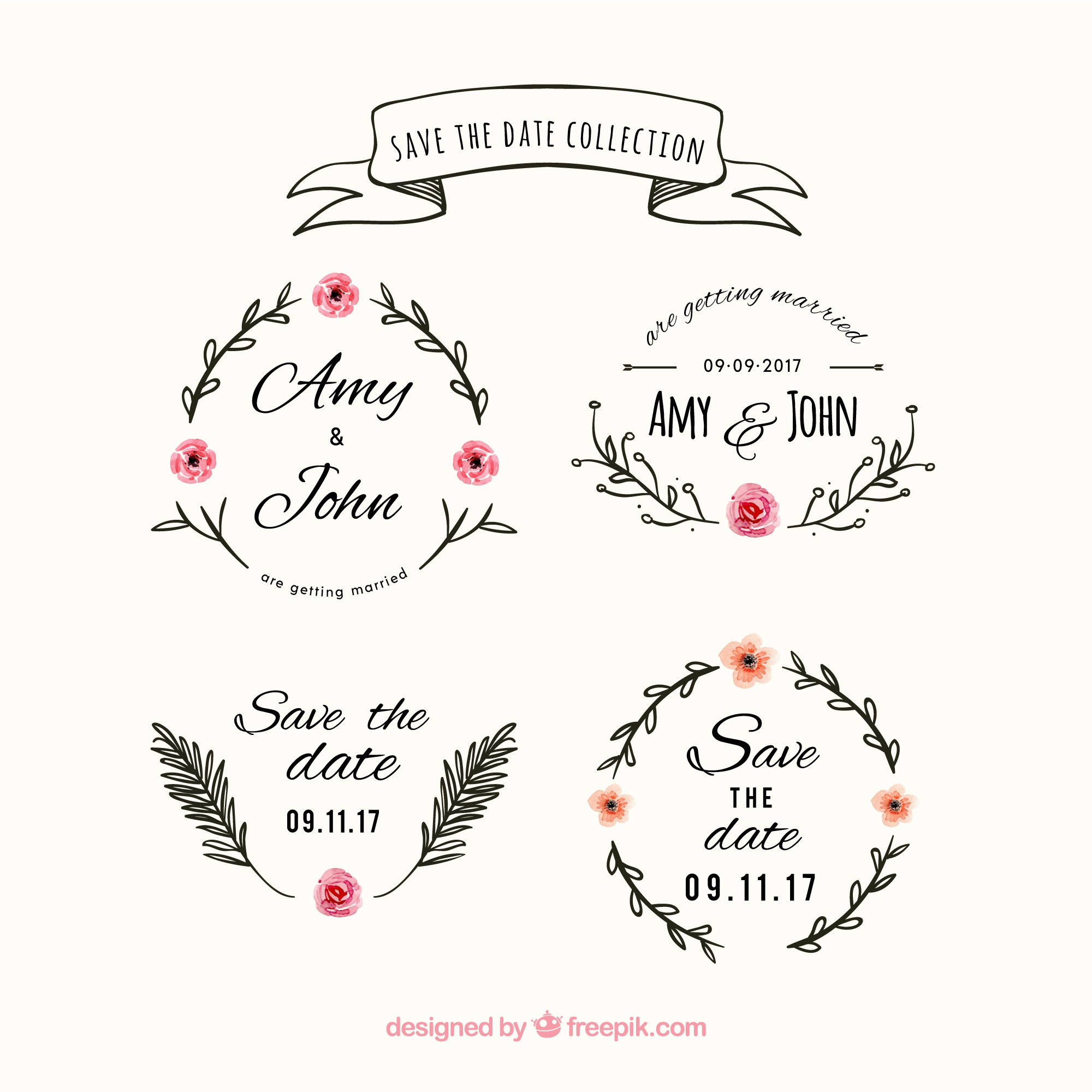 Floral wedding labels with vintage style