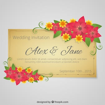 Floral weeding invitation in retro style
