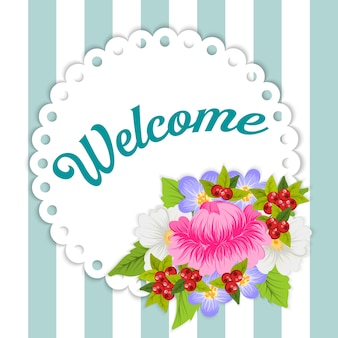 Floral welcome card