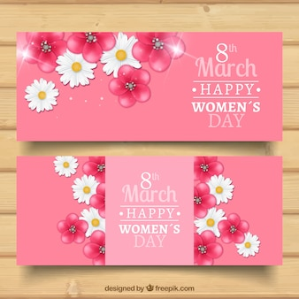 Floral woman day banners