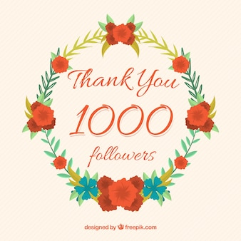 Floral wreath background celebration 1k followers