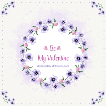 Floral wreath background with message