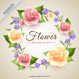 Floral wreath made up of roses background