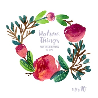 Floral wreath watercolor effect