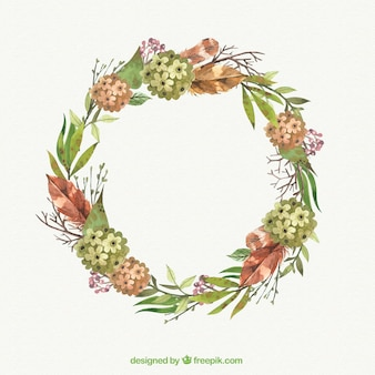 Floral wreath with leaves and branches