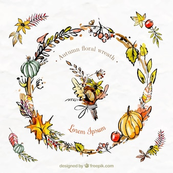 Floral wreath with pumpkins