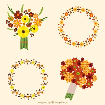 Floral wreaths and bouquets in minimalist style