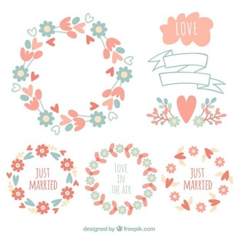 Floral wreaths for wedding in vintage style
