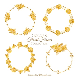 Floral wreaths of golden roses